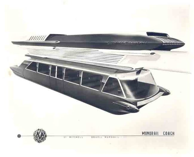 The passenger coach of the mass transit system Goodell Monorail conceptualized in 1959.