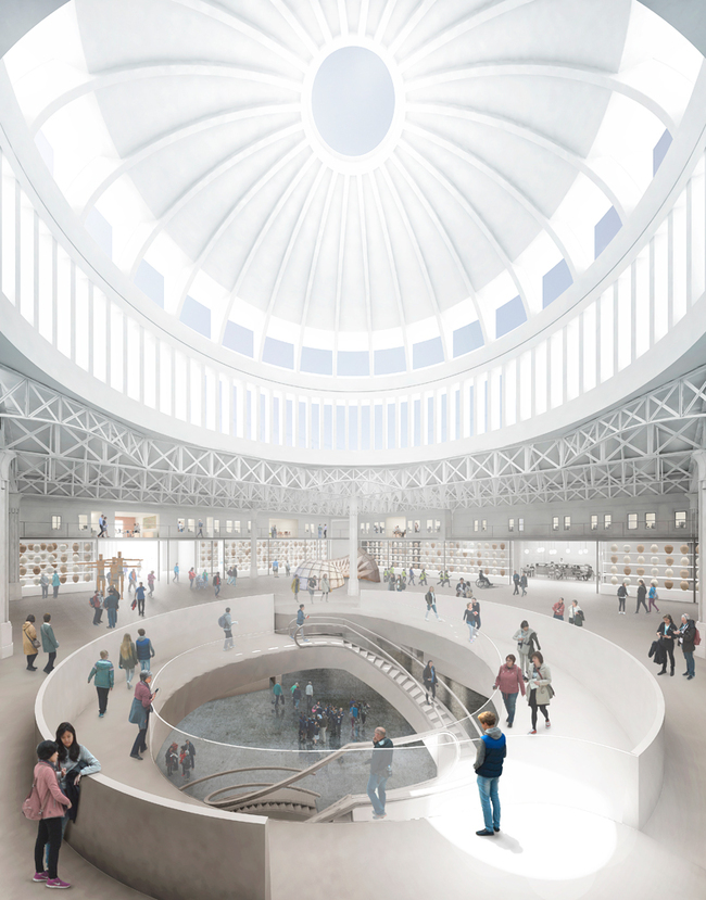 The domed ceiling and central staircase of the new Museum of London. Image credit: Stanton Williams