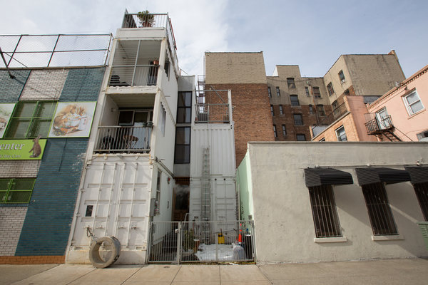 David Boyle's home, made from six shipping containers, at 351 Keap Street. Ruth Fremson/The New York Times