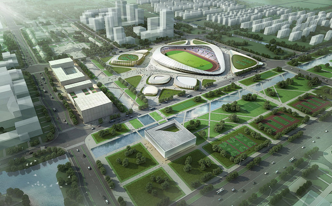 First Prize in the Nantong Sports Center competition: Henn Architekten (Image: Henn Architekten)