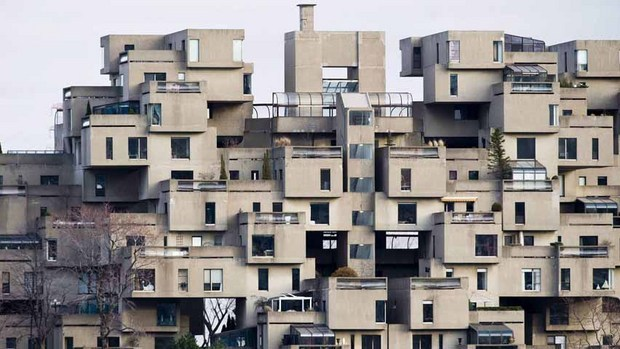 Montreal's Habitat 67 housing complex beat out iconic structures like Paris' Eiffel Tower and Rome's Coliseum in an internet vote. (Graham Hughes/ Canadian Press)