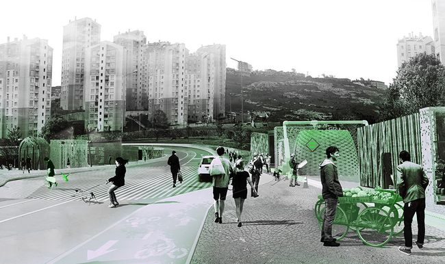 """KITO Perspective's """"Istanbul: Tactics for Resilient Post-Urban Development"""" 2014, part of MoMA's """"Uneven Growth: Tactical Urbanisms for Expanding Megacities"""" exhibit. (via blouinartinfo.com; Image: Superpool)"""