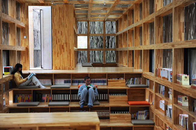 "Interior of <a href=""http://archinect.com/features/article/59982286/showcase-liyuan-library-by-li-xiaodong-atelier"">Liyuan Library by Li Xiaodong/Atelier</a>, courtesy of the architect."