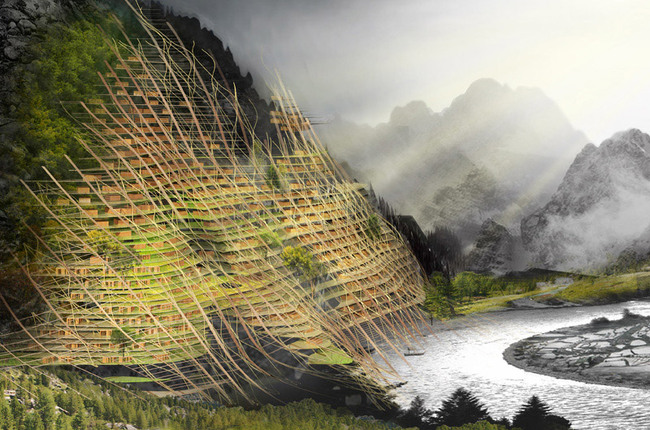 2012 Second place winner: Mountain Band-Aid by Yiting Shen, Nanjue Wang, Ji Xia, Zihan Wang (China).
