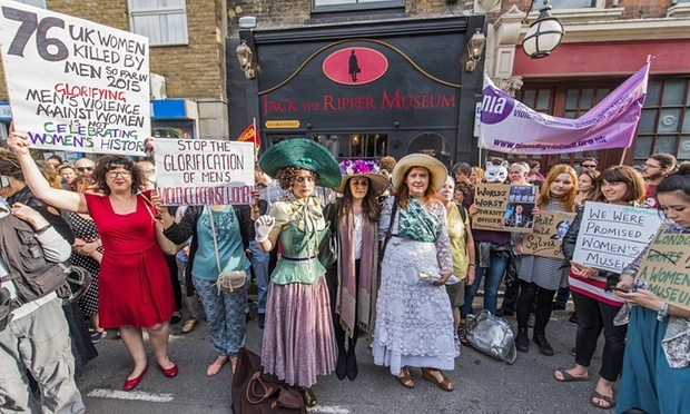 Protesters outside the Jack the Ripper Museum in Cable Street, east London. Photograph: Guy Bell/Rex via theguardian.com.