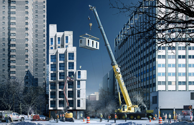 Rendering of the winning entry 'My Micro NY' by Monadnock Development LLC, Actors Fund Housing Development Corporation, and nARCHITECTS (Courtesy NYC Mayor's Office)