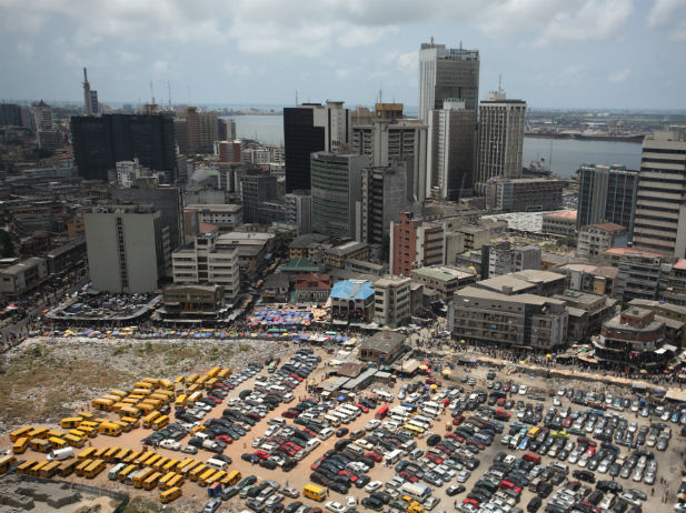 An aerial view shows the central business district in Nigeria's commercial capital of Lagos, April 7, 2009. (Akintunde Akinleye/Courtesy Reuters).