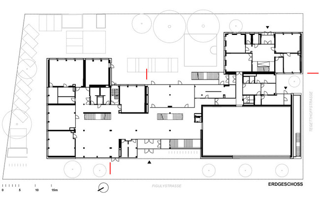 Stelzhamerschule Linz (by KIRSCH Architecture) First floor plan Image via KIRSCH Architecture