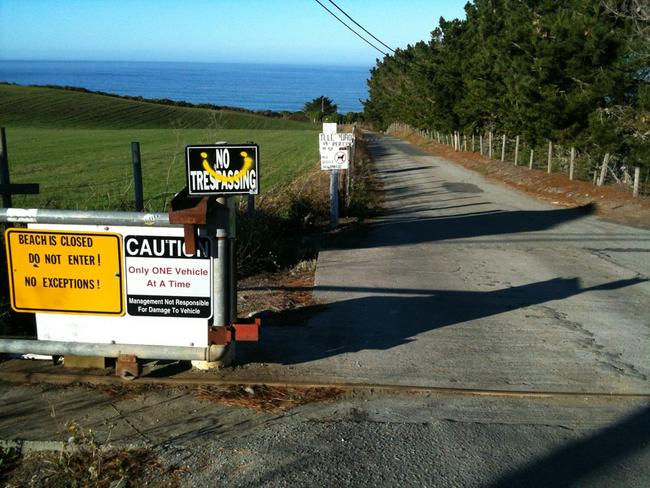 The sole access road to Martin's Beach was locked after Khosla purchased an adjacent property. Credit: