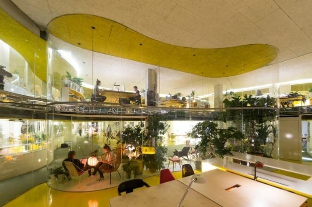 Second Home, off Brick Lane, 'a quasi-landscape of plants and diverse furniture'. (via theguardian.com; Photograph: Iwan Baan)