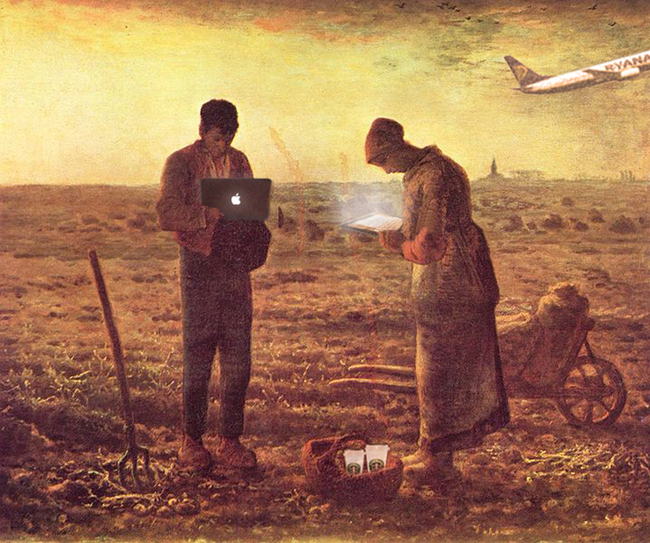 Checking mails at 6 pm. By STAR strategies + architecture (http://st-ar.nl/interview-to-kees-christiaanse/) Original painting: The Angelus, 1857–59 by Jean-François Millet.