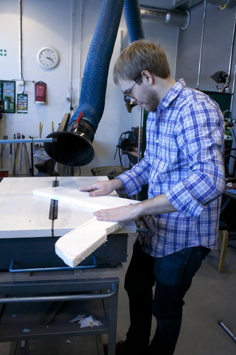 4. Alexander Morley using the wirecutter to cut sections into the 25mm foam