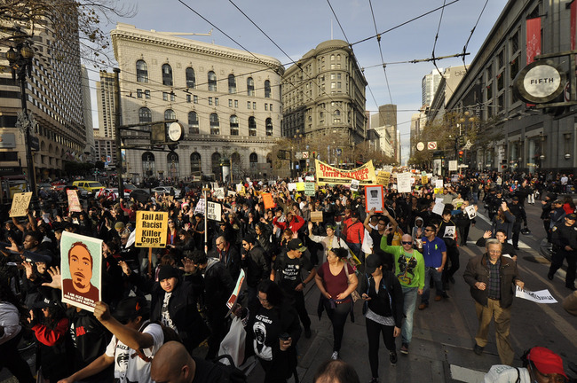 A Black Lives Matter demonstration in San Francisco. Image via flickr/Jim Killock.