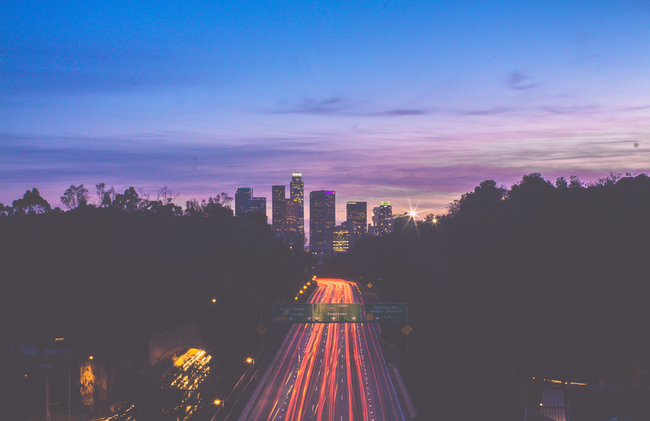 View of the 110 Freeway and the Downtown LA skyline. Photo: demxx/Flickr.
