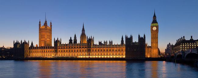 London's Palace of Westminster at dusk. (Photo: David Iliff; via Wikipedia)