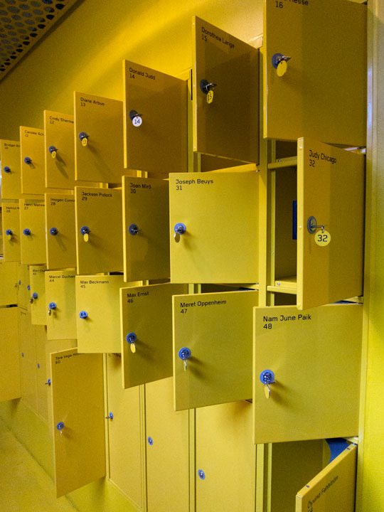 Locker quotes of famous artists at the Malm Museum of Contemporary Art