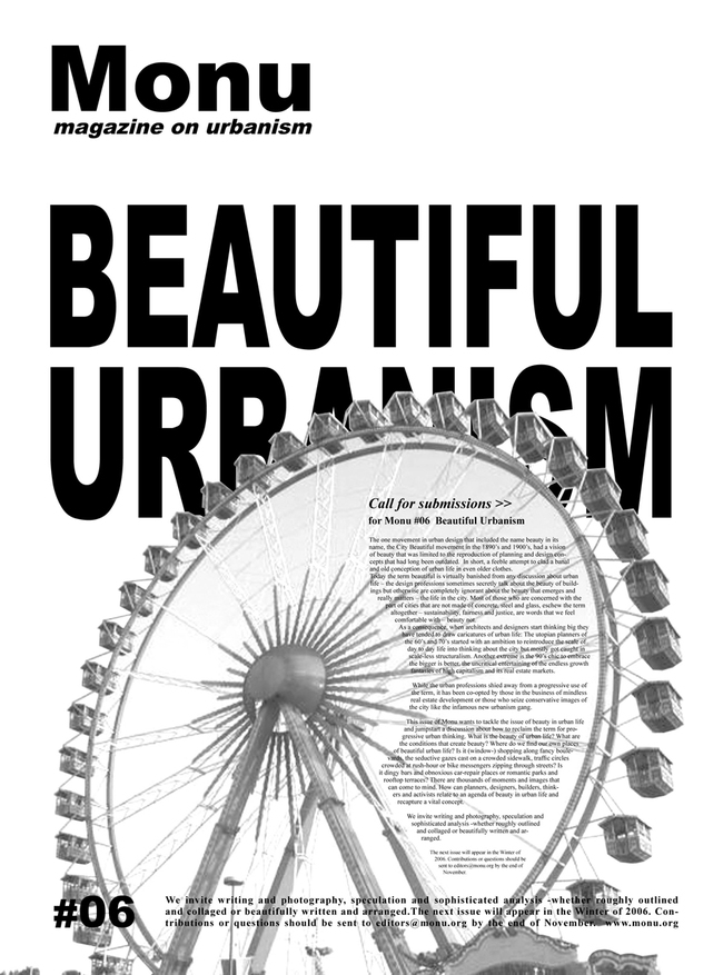 call for submissions for Beautiful Urbanism in 2006. Poster  MONU