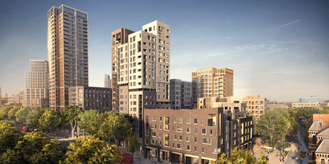 A rendering of Elephant Park, which will replace the Heygate Estates. Image via http://www.elephantpark.co.uk/