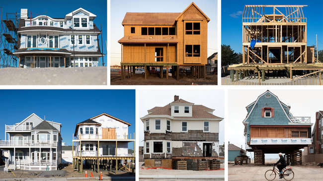 Clockwise from top left, a house in Lavallette; two in Mantoloking; two in Bayhead; and two in Ortley Beach. Credit Karsten Moran for The New York Times