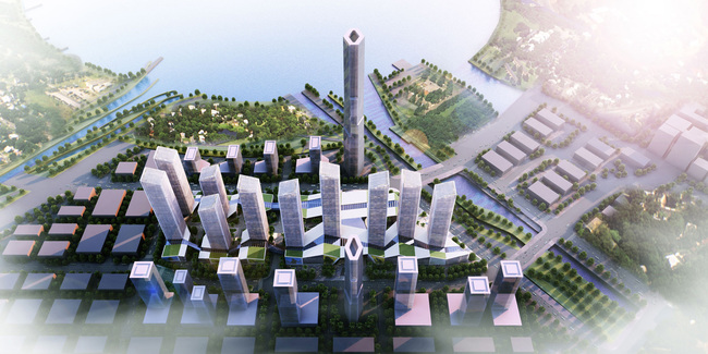 Bird's-eye view of the new Shenzhen urban development by gmp. Image © gmp