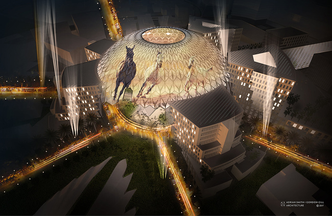 Al Wasl Plaza designed by Adrian Smith + Gordon Gill Architecture. Image courtesy of the firm.