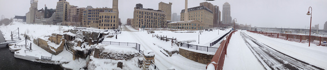 Panorama of the Water Works site covered in snow in March (Image courtesy of Minneapolis Parks Foundation)