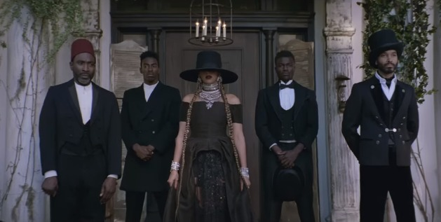 "Screenshot from Beyoncé's ""Formation"" music video at the Fenyes Mansion in Pasadena, California."