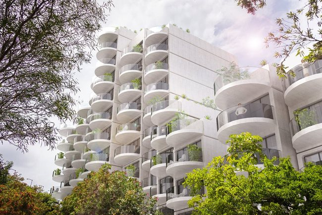 "LAVA's proposal consists of adding ""clip-on"" curved balconies to improve amenity for the SIRIUS apartment building. Image via architectureanddesign.com.au."