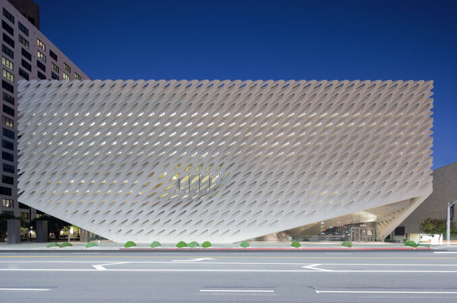 The Broad, designed by Diller Scofidio + Renfro in collaboration with Gensler, on LA's Grand Ave. Photo: Iwan Baan; Image via thebroad.org.