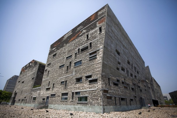 This April 22, 2012 photo shows Ningbo History Museum, one of Chinese architect Wang Shu's most famous works, in Ningbo, in eastern China's Zhejiang province. When Wang accepts his field's richest prize in a ceremony Friday, May 25, 2012, at the seat of China's legislature, a symbolic...