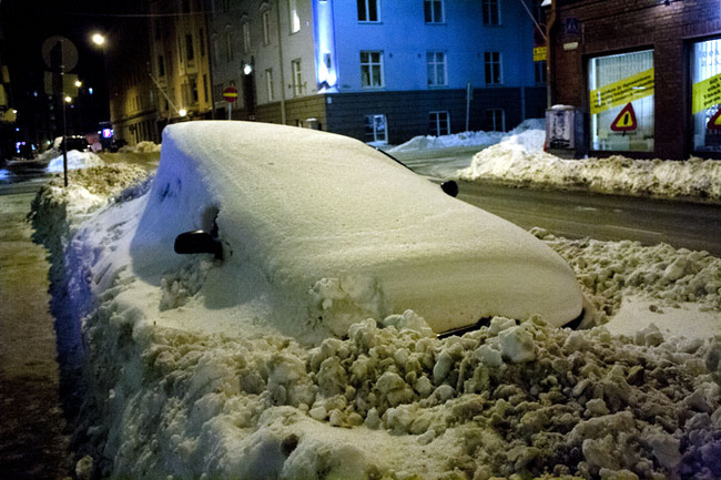 Snow in Helsinki, Finland.