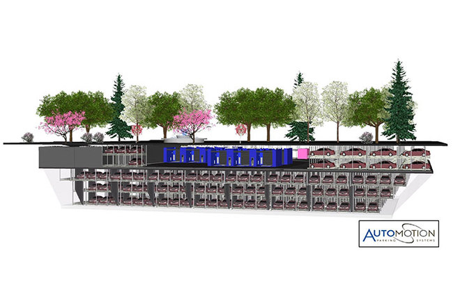 The new below-grade automated parking garage will house almost 700 cars on its 5 floors. Drivers will simply pull their car into a designated area, grab a ticket, and then a high-tech system will whisk the car away into a parking space. (Build a Better Burb; Image courtesy of Automotion Parking...