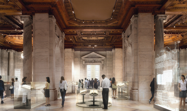 A conceptual design of Gottesman Exhibition Hall at the New York Public Library (Image: dbox branding & creative)