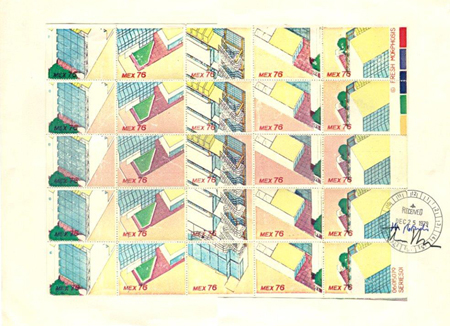 Stamps, 1979, Partial isometric views of the Reidel Medical Building by Morphosis (Thom Mayne and Michael Rotondi)