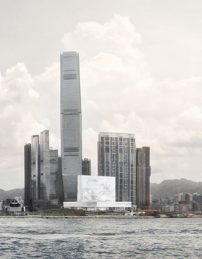 Day Scene: View of M+ from Hong Kong Island © Herzog & de Meuron, Courtesy of Herzog & de Meuron and WKCDA