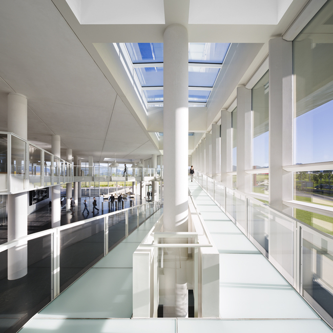 Italcementi i.lab view of the atrium from the glass ramp - Copyright Scott Frances