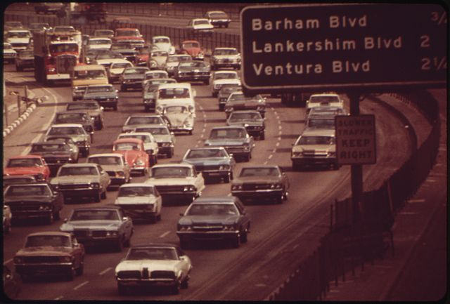 The Hollywood Freeway through the Cahuenga Pass in 1972.