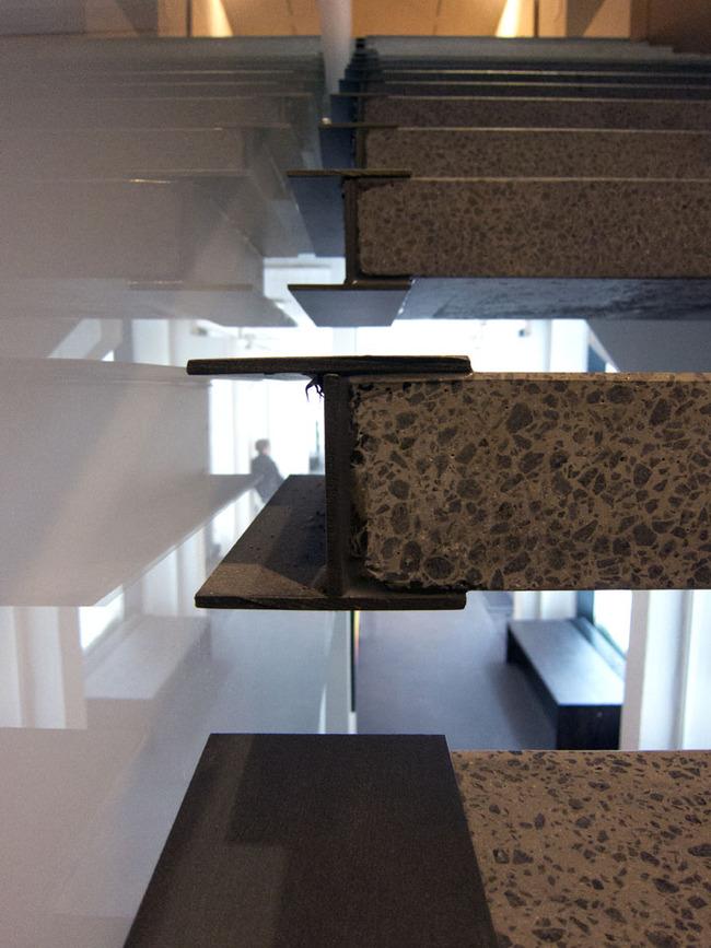 Stairs at Juhani Pallasmaa's art museum in Rovaniemi, Finland.