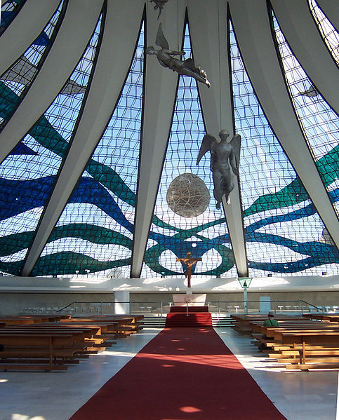 Cathedral of Brasília, Brasília (interior) via WikiMedia