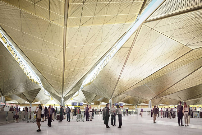 Interior rendering of the proposed terminal (Image: Grimshaw Architects)