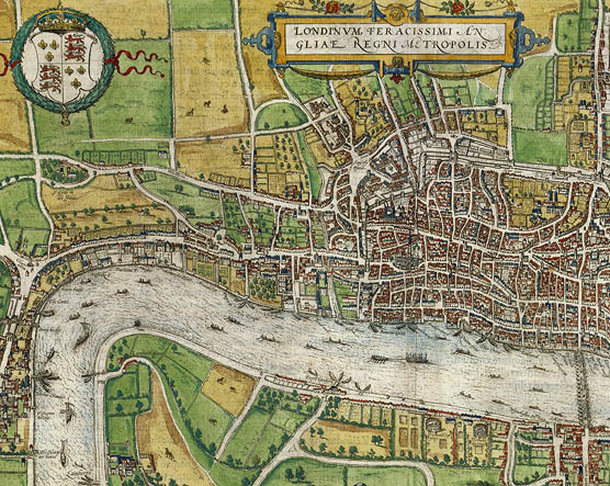 London, from Civitates Orbis Terrarum. Hand-colored engraving, 1574. Shelfmark MAP L85c no.27. Shelfmark MAP L85c no.27.