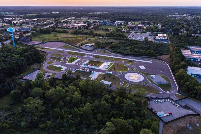 Aerial view of the University of Michigan's autonomous vehicle testing facility, MCity, in Ann Arbor. (Image: University of Michigan; via curbed.com)