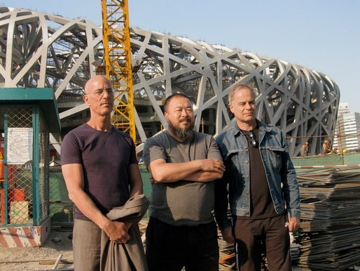 Jacques Herzog and Pierre de Meuron with artist Ai Weiwei in front of Beijing's Bird's Nest.