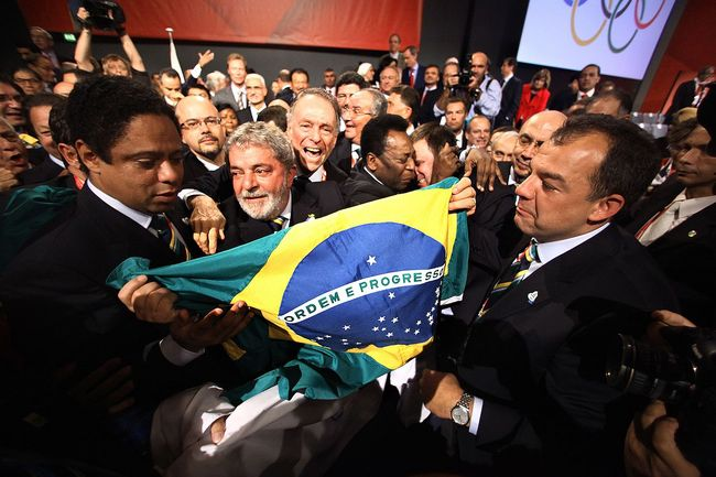 Then-President Lula with the famous soccer player Pelé after Rio was announced as the host for the 2016 Olympics. Since the announcement, allegations of corruption have mired the lead-up to the games. Credit: Wikipedia