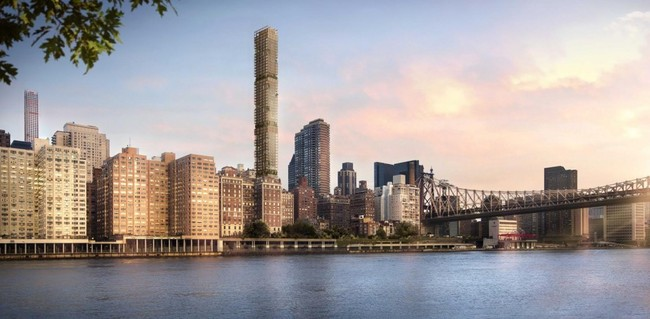 A render of the proposed tower, which will likely not be built now that the developer has defaulted on loans for the project. Credit: Foster + Partners