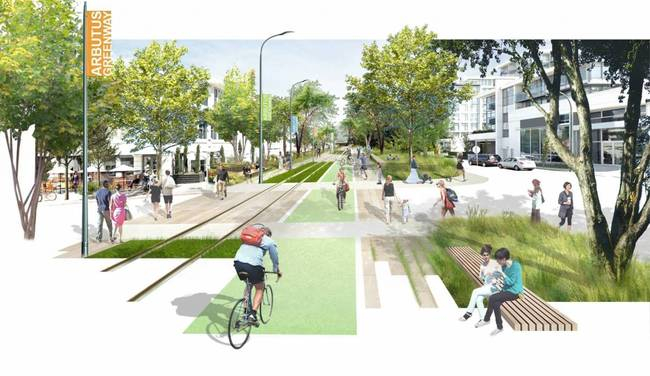 A rendering of Vancouver's proposed plan for the Arbutus Corridor. Image: City of Vancouver.