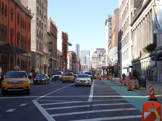 New protected bicycle lane on Lafayette near the PPS office (Project for Public Spaces; Photo by Clémence Morlet)
