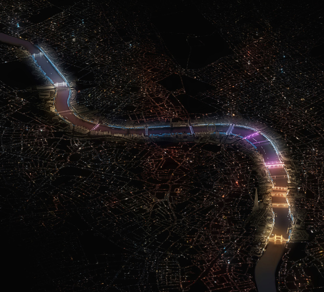 The Illuminated River Overview (computer-generated image). Image © Leo Villareal and Lifschutz Davidson Sandilands.