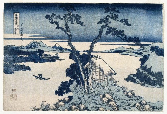 """A View of Mount Fuji across Lake Suwa Lake Suwa in Shinano Province"" by Katsushika Hokusai, c. 1829-1833 / Brooklyn Museum via wikimedia.org"