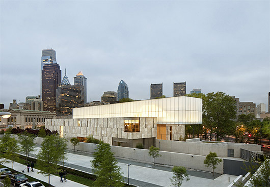 The Barnes Foundation in Philadelphia, PA, the museum that controversially transplanted Albert Barnes' singular collection of Impressionist, Post-Impressionist and Early Modern art from his suburban quasi-private exhibition space to Center City Philadelphia. Williams and Tsien's new museum replicates the scale, proportion, and configuration of the original Paul Cret-designed museum, while adding new spaces for education, painting conservation, and research. (Image via twbta.com)